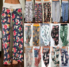 WOMENS FLORAL HIGH WAISTED PALAZZO YOGA TROUSERS LADIES CASUAL WIDE LEG PANTS