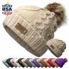 EP Pom pom Beanie Knit Slouchy Baggy Fleece Lined Winter Hat Ski Cap Skull Women