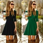 Women's Autumn Winter Long Sleeve Casual Pleated Bodycon Cocktail Party Dress