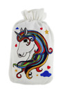 Gorgeous Luna Rainbow Unicorn Fleece Cover Hot Water Bottle Available In 2 Sizes