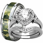camo wedding band sets - Camouflage Tungsten Camo Band & Stainless Steel Heart Halo CZ Wedding Ring Set