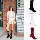 Ladies womens sock ankle boots round toe thin heel designer shoes size