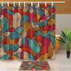 """Abstract Pattern Waterproof Fabric Shower Curtain With Liner Hooks Bathroom 71"""""""