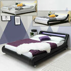 Modern Designer LED Multi Color Light White Faux Leather Low Single Bed Frame