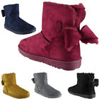 New Womens Ladies Faux Fur Winter Warm Hard Sole Ankle Bow Boots Flat Shoes Size
