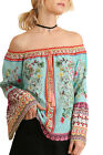 Umgee Women's Mint Off Shoulder Floral Print Top with Bell Sleeves