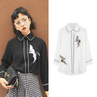 Women Crane Embroidery Shirt Long Sleeve Button Down Lapel Fashion Casual Tops