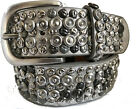SILVER STUDDED SYNTHETIC & REAL LEATHER BELT 40MM S M L