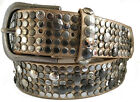 GOLD SILVER STUDDED SYNTHETIC & REAL LEATHER BELT 40MM S M L