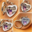 Personalised BIRTHDAY Gift  Floating Heart  Memory Locket keyring -30th40th ...