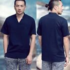 Men Casual Deep Navy Blue Split Detail V Neck Embroidery Tee Outfit Top T-Shirt