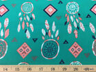 Dreamcatcher Teal Salmon Navy Tribal Dream Catchers Cotton Fabric w6/10