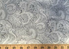 Gray & White Paisley Grey Floral Grey 100% Cotton Fabric w8/12
