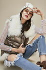 Lady 100% Lamb Wool Fur Collar Hooded Gold Parka Motorcycle Jacket High Quality