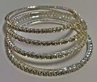 beautiful set of 4 silver or gold tone bangles with clear diamante