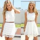 Women Lace Floral Sleeveless Party Cocktail Mini Dress Sundress Summer White