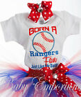Rangers Fan Little Girls Toddler Outfit Shirt Tutu FREE Hair Bow MLB Sports