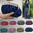 Ladies Clutch Bags Satin Lace Large Women Evening Handbag Floral Shoulder Design