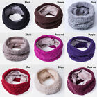 Women Winter Warm Infinity Cable Knitted Neck Cowl Collar Wraps Wool Scarf Shawl