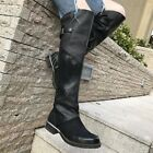 Vintage Women's Genuine Leather Splice Knee High Boots Occident Flats Punk Boots