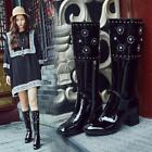 2018 Womens Zip Patent Leather Block Med Heel Riding Shoes Knee High Boots New