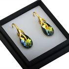 Gold Plated Sterling Silver Earrings Pear/Almond 16mm Crystals from Swarovski®