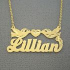 Real 10K Gold Personalized Name Necklace Diamond Cut Loving Birds Valentine Gift