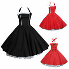 Maggie Tang 50s Pinup VTG Retro Halter Housewife Rockabilly Swing Dress K-508