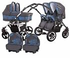 Twin Pram 3in1 Pushchair Double Buggy Twins Car Seats +Duet 15 COLOURS FREEBIES