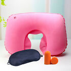 Portable Inflatable Flight Pillow Neck U Rest Air Cushion Eye Mask  Earplug