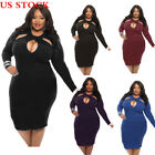 Sexy Women Hollow Bodycon Party Club Cocktail Evening Short Mini Dress Plus Size