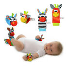 4-Piece Zebra Baby Infant Wrists Rattle and Socks Soft Toys for Children Play