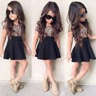 Fashion Kids Baby Girls Leopard Printing Short Sleeveless Dress Clothes Black