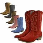 Women's Western Leather Cowboy Boots Pointed Toe Ladies Wide Calf Shoes