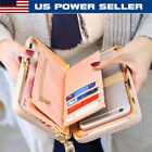 US Women Lady PU Leather Clutch Wallet Long Card Holder Purse Box Handbag Bag