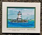 Saybrook Breakwater Outer Lighthouse Vintage Art Print Connecticut River CT Gift