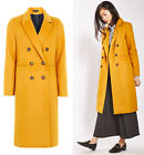 TOPSHOP Longline Double Breasted Coat Jacket in Mustard Sizes 6 to 16
