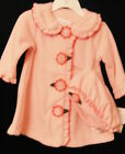 Bonnie Baby 06370 Pink Coat trimmed in Ruffles and Flowers, Hat 3-6, 6-9 months