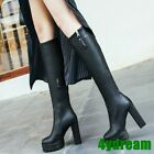 Women 4y-003 Block Heels Platform Solid Knee High Boots 12CM Party Warm Boots