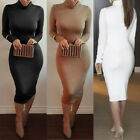 Women's Turtle Neck Long Sleeve Casual Sexy Bodycon Stretch Party Midi Dress USA