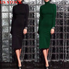 Womens Autumn Winter Long Sleeve Turtle Neck Dress Party Sweater Mini Dress