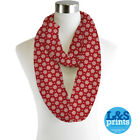 Red & white Snowflakes Lightweight Infinity Scarf Fashion Loop Chiffon Jersey