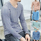 Men's Striped T-shirt Slim Fit Long Sleeve Shirt Round Neck Muscle Casual Tops