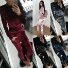 Women Crushed Velvet Lounge Suit Sweatshirt Pant Ladies Velour Samt Tracksuit UK