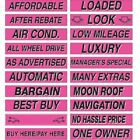"15"" Long Hot Pink Adhesive Car Dealer Windshield Slogan Sticker You Pick"
