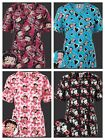 New>Scrubs> Betty Boop Mock Wrap/V neck Print Scrub Top 4 Styles to choose from $11.39 USD