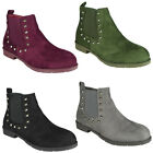 Womens Chelsea Ankle Boots New Ladies Low Heel Casual Work Plain Flat Shoes Size