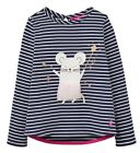 JOULES Girls Ava French Navy Mouse Applique Long Sleeved Top - 100% Cotton - NEW
