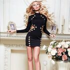 2018 Woman Black Long Sleeve Hollow Out Bandage Dress Gold Ring Bodycon Dress