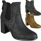 Womens Ladies Ankle Chelsea Boots Elastic New Zip Mid Block Heel Work Shoes Size